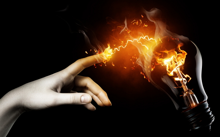 Finger-with-Fire-Touching-Bulb-Light